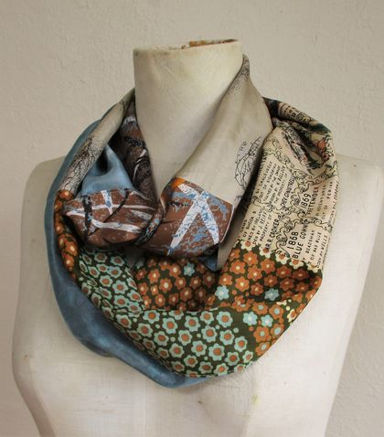 Patchwork infinity scarf.