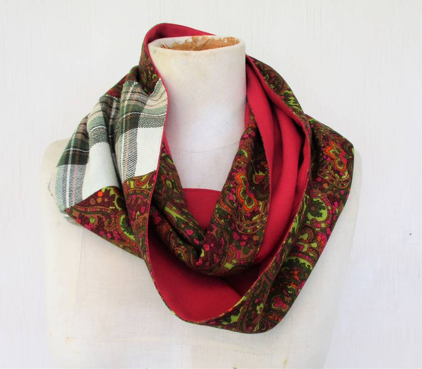 paisley and plaid infinity scarf