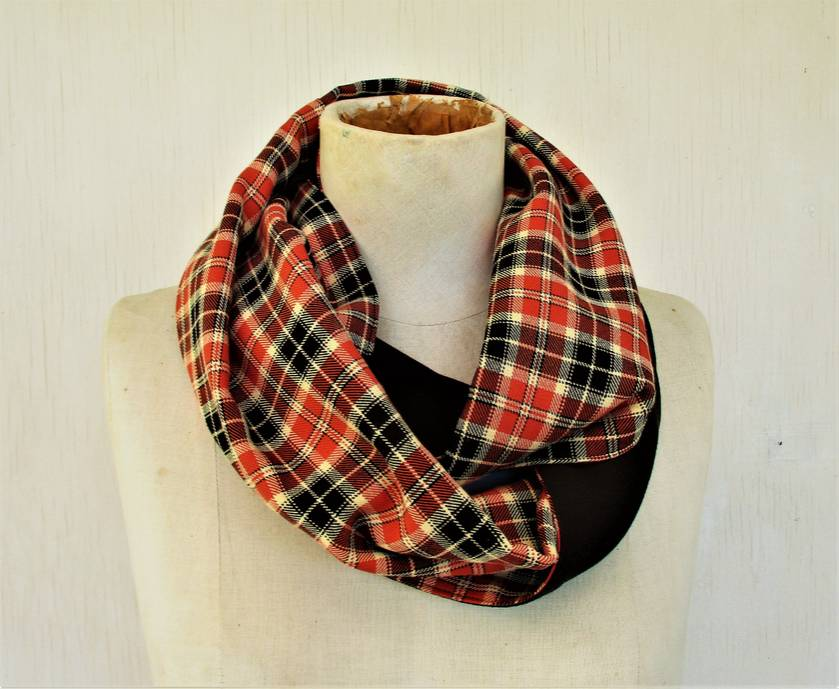 Choc and orange plaid infinity scarf
