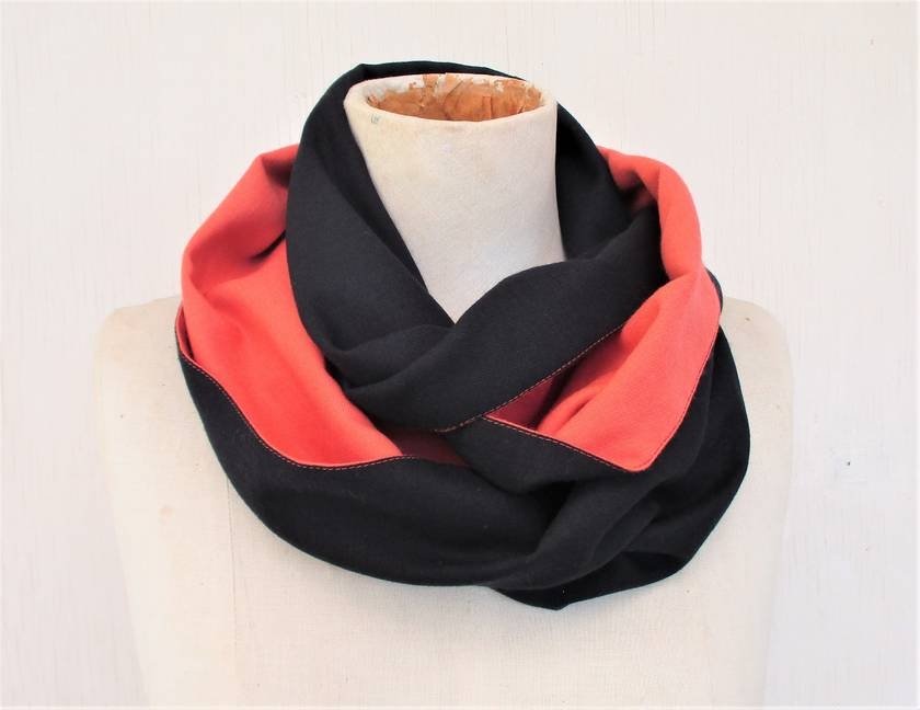 Navy and orange infinity scarf