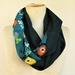 Wool tweed and  floral  infinity scarf