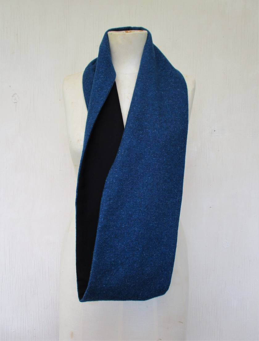 Black and blue wools  infinity scarf