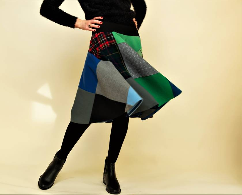 Winter patchwork circle skirt