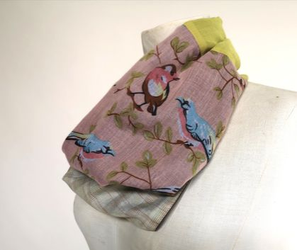 Patchwork infinity scarf with birds