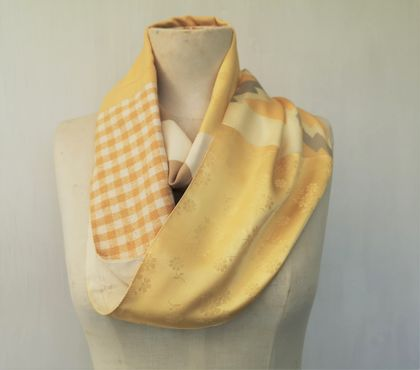 Mustard and cream  infinity scarf