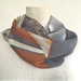 Tan and grey silk  infinity scarf