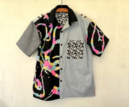 Mens shirt in patchwork - large