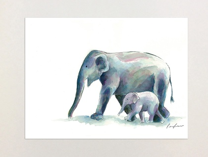 Elephant & Baby - A4 Print of Original Watercolour Painting