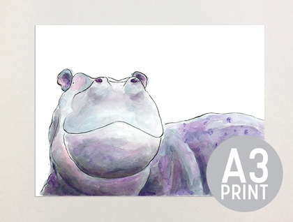 Hippo - A3 Print of Original Watercolour Painting