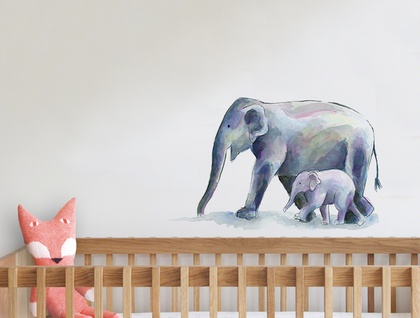 Elephant Watercolour Fabric Wall Decal