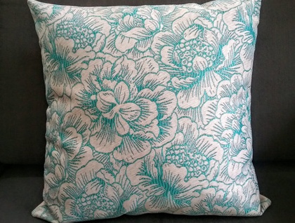 Luxury aqua blue oatmeal floral linen cushion cover - blue beige pillow - turquoise oatmeal floral cushion - luxury linen cushion
