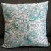 Luxury aqua blue oatmeal floral linen cushion cover - blue beige pillow - turquoise oatmeal floral cushion - luxury linen cushion