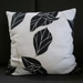 black and white cushion - black white leaves pillow - black white monochrome cushion cover 45 x 45 cm
