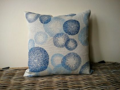 oatmeal and blue linen cushion cover - oatmeal blue rings cushion - luxury linen cushion - hemptech linen cushion 45 x 45 cm
