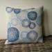 oatmeal and blue linen cushion cover - oatmeal blue rings cushion - luxury linen cushion - hemptech linen cushion 45 x 45 cm