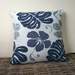 tropical leaves and flowers cushion cover  - hibiscus cushion - blue tropical décor - monstera leaf pillow