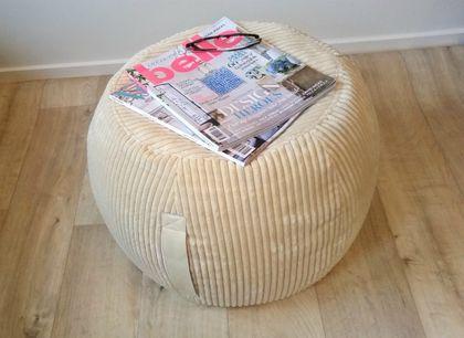 ottoman pouf, cream velvet pouf, cream round pouf, beanbag pouf, bean bag ottoman, cream floor cushion, ottoman pouf, deep cream pouffe