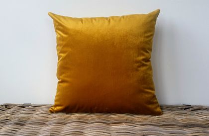 Gold Velvet Cushion Cover - golden yellow velvet cushion