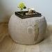 beige ottoman pouf, natural linen pouf, round pouf, beanbag pouf, oatmeal bean bag ottoman