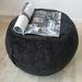 ottoman pouf, black color pouf, round pouf, beanbag pouf, bean bag ottoman, black velvet floor cushion, ottoman pouffe