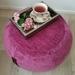 ottoman pouf, raspberry color pouf, round pouf, magenta beanbag pouf, bean bag ottoman, deep pink velvet floor cushion, ottoman pouffe
