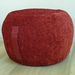ottoman pouf, russet red chenille pouf, red round pouf, beanbag pouf, bean bag ottoman, garnet red pouffe, red ottoman pouf, round pouffe