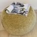 ottoman pouf, light olive chenille pouf, green round pouf, beanbag pouf, bean bag ottoman, avocado green pouffe, ottoman pouf, sage pouffe