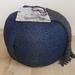 blue ottoman pouf, light navy pouf, round beanbag pouf, bean bag ottoman