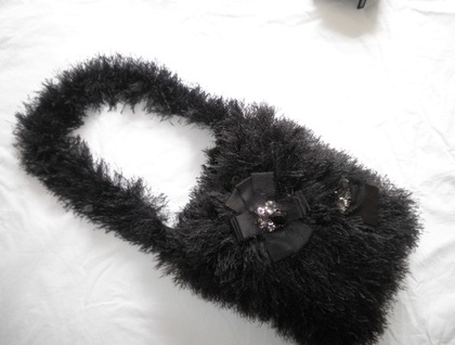 Hand knitted fluffy/shaggy  evening shoulder bag