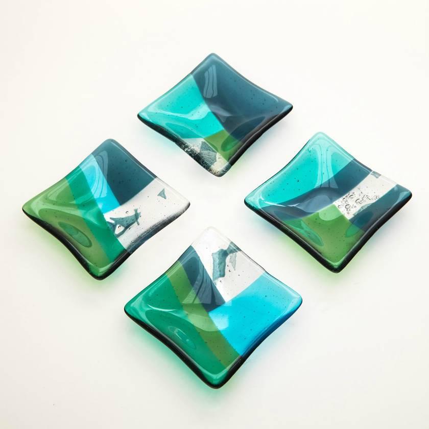 Geometric fused glass dishes