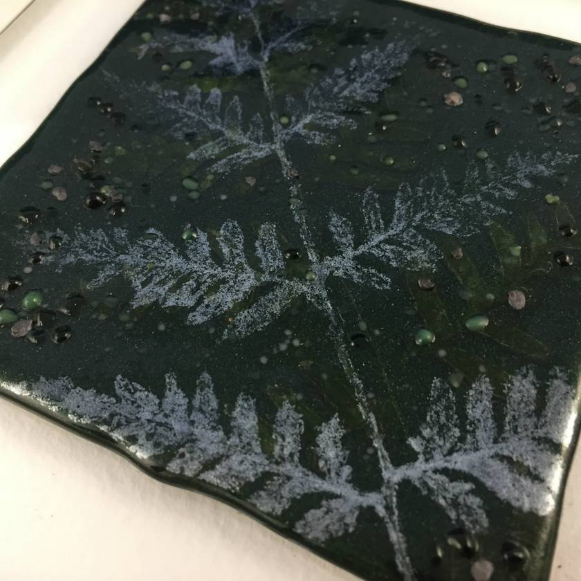"""Fossilised Tree Fern"" - Fused Glass Picture"