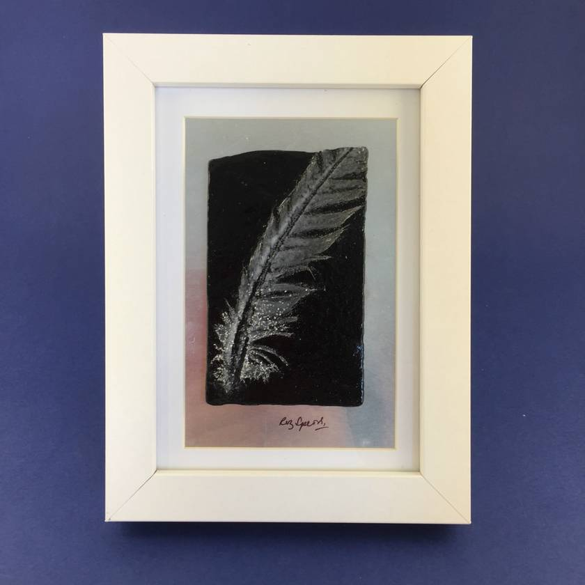 """Fossilised Feather"" - Fused Glass Picture"