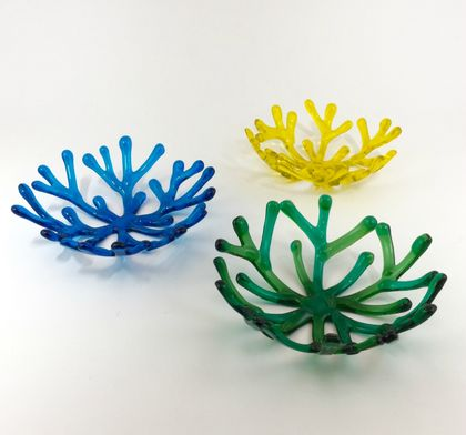 Fused Glass Coral Bowls