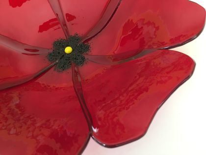 Fused Glass Poppy Bowl - large