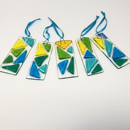 Fused Glass Suncatchers - Turquoise, Green & Yellow