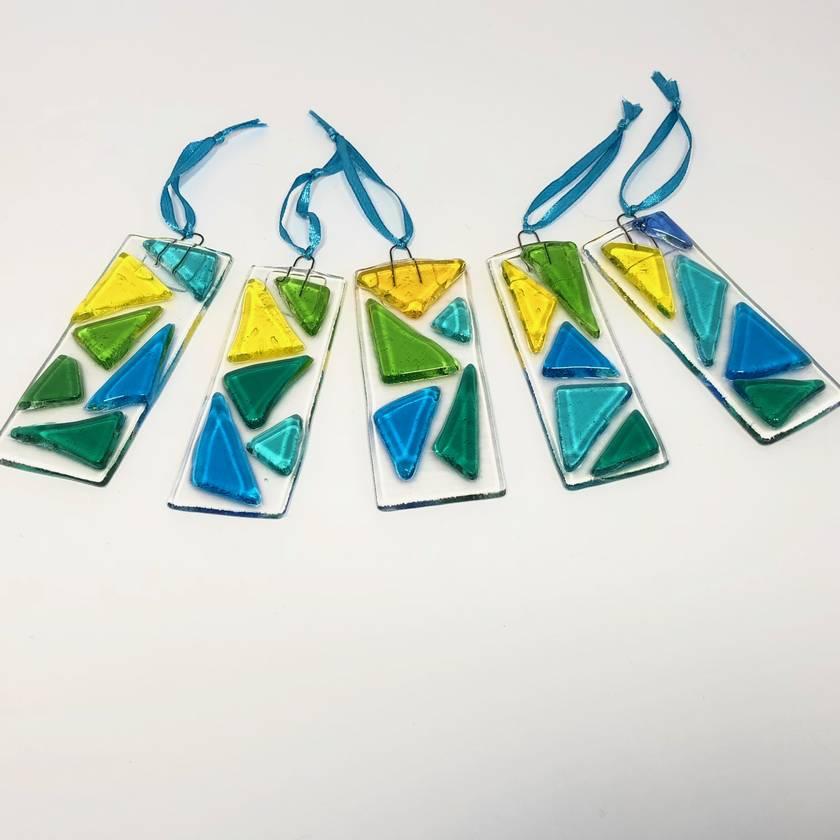 Fused Glass Suncatchers - Turquoise, Green & Yellow