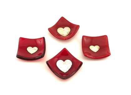 Red Dinky Dishes with Silver Heart