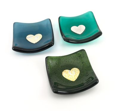 Fused Glass Dinky Dishes with Pure Silver Heart - Dark Greens