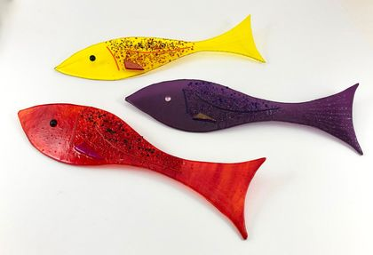 Rainbow Reef - Wall Mounted Fused Glass Fish - Yellow, Red and Purple