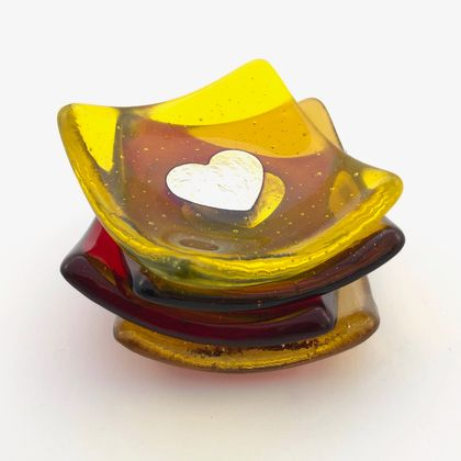 Fused Glass Dinky Dishes with Pure Silver Heart - Yellow and Amber
