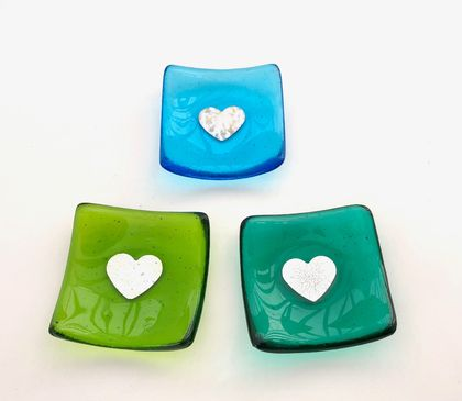 Fused Glass Dinky Dishes with Pure Silver Heart - Greens & Turquoise