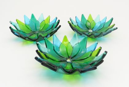 Tiny Flower Bowls - Aquas and Greens