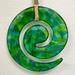 Fused Glass Koru Wallhanging - Spring Greens