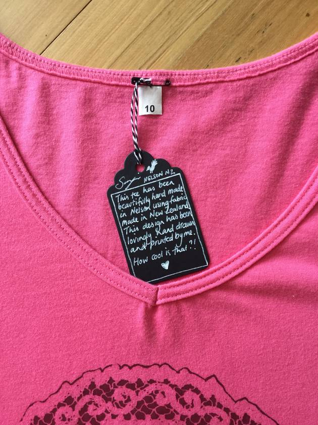 Ladies NZ MADE Pink Fantail Tee