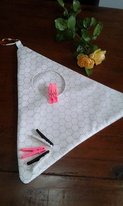 Peg Bag  -  White with gold hexagons