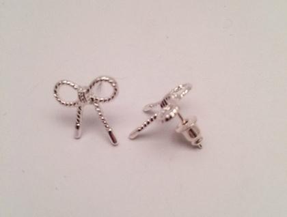 silver bow earrings felt