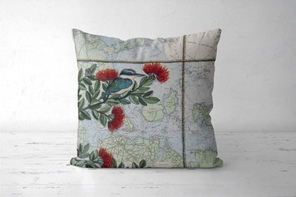 Kingfisher Map Cushion Cover