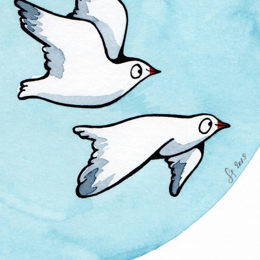 A4 original watercolour– 3 Gulls