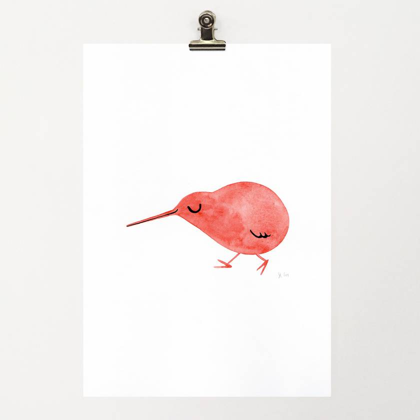 A4 original watercolour– Kiwi Red