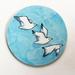 Mounted circle print- 3 gulls